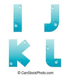 agua, alfabeto, gotas