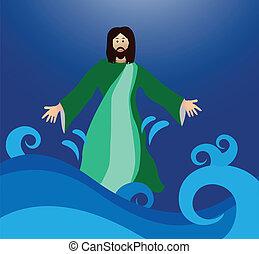 agua, ambulante, jesús