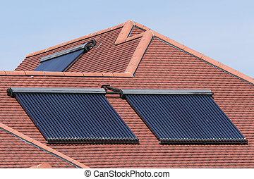 agua, arrays, caliente, panel solar