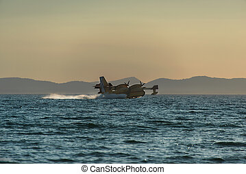 agua, avión, bombardero, rellenar, cl-415