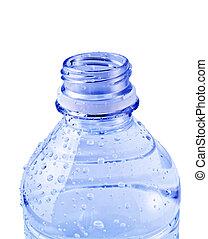 agua azul, abierto, aislado, botella