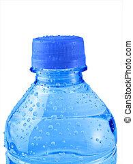 agua azul, aislado, botella