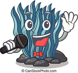 agua azul, alga, mar, debajo, canto, caricatura