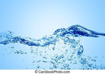 agua azul, claro, ondas