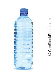 agua azul, fondo., vector, botella, blanco
