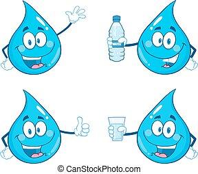 agua azul, gota, 1, colección, conjunto