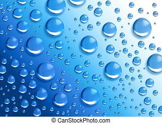 agua azul, gota, humedad, círculos
