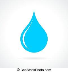 agua azul, gota, icono