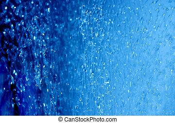 agua azul, gotas, aire