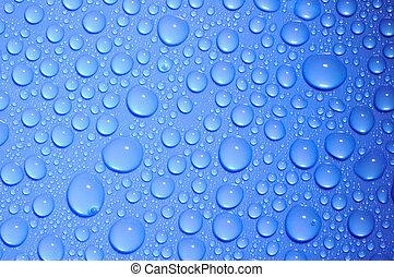 agua azul, gotas, vidrio