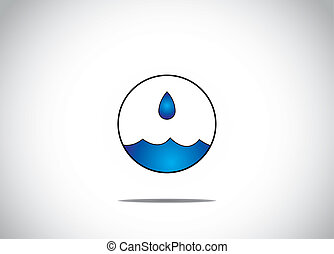 agua azul, gotita, obteniendo, recogido, en, un, aislado, circular, burbuja, arte, -, agua, preservación, o, conservación, concepto, ilustraciones
