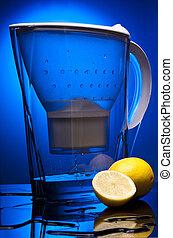 agua, azul, limon, objekt, limpio