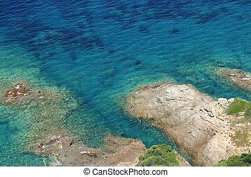 agua azul, mar turquesa