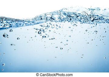 agua azul, onda, y, burbujas, para limpiar, agua potable