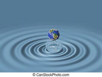 agua azul, ondas, y, globo del mundo