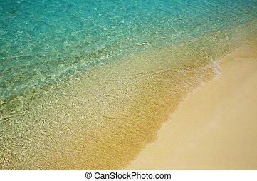 agua azul, orilla, ondas