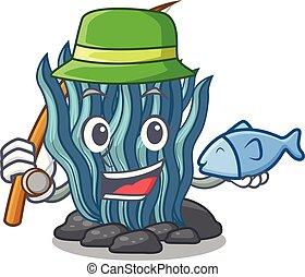 agua azul, pesca, mar, debajo, caricatura, alga