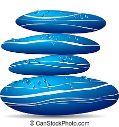 agua azul, piedra, gotitas