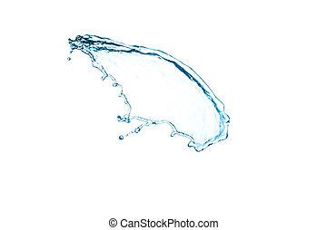 agua azul, salpicadura, aislado, blanco, plano de fondo