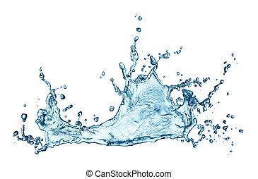 agua azul, salpicadura, aislado