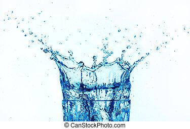 agua azul, salpicar, aislado, blanco, fondo.