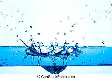 agua azul, salpicar, blanco, fondo.