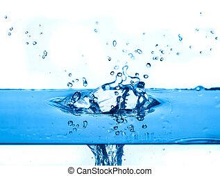 agua azul, salpicar, fondo blanco