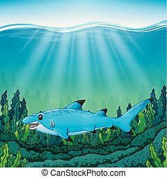 agua azul, tiburón, caricatura, debajo