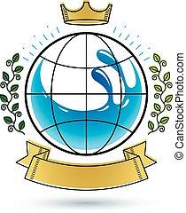 agua azul, uso, mineral, claro, gota, símbolo, ambiente, vector, advertising., conservación, concept.