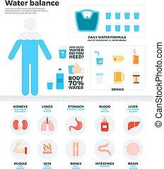 agua, balance, concepto, salud, humano