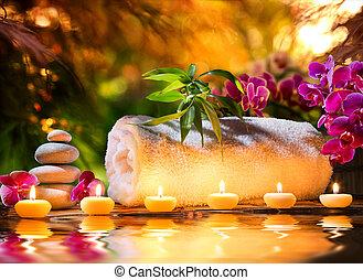 agua, -, balneario, masaje, jardín