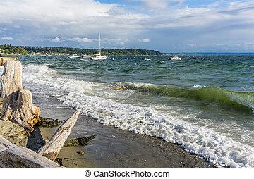 agua, barcos, picado, 5