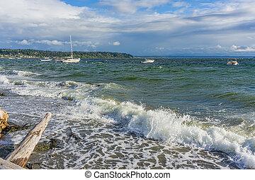agua, barcos, picado