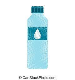 agua, bebida, botella, icono
