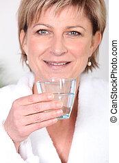 agua, bebida, mujer