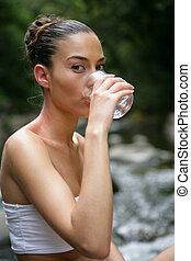 agua, bebida, mujer, Arroyo
