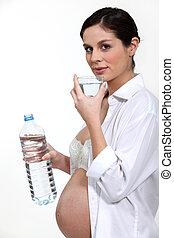 agua, bebida, mujer, embarazada