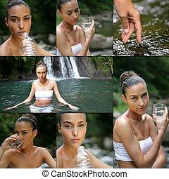 agua, bebida, mujer, joven, cascada