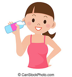 agua, bebida, mujer, joven