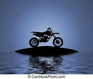 agua, bicicleta