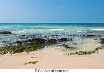 agua, boavista, claro, de, praia, capa, playa, chaves, ve