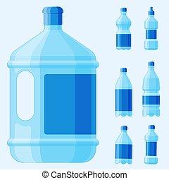 agua, botella plástica, vector, transparente, mineral, bebida, blanco, refresco, naturaleza, azul, limpio, líquido, agua, líquido, plantilla, illustration.