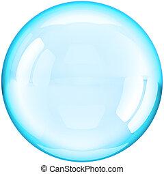 agua, burbuja jabón, pelota, coloreado, cian