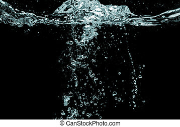 agua, burbujas, salpicadura, negro, aislado