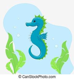 agua, caballo, mar, debajo