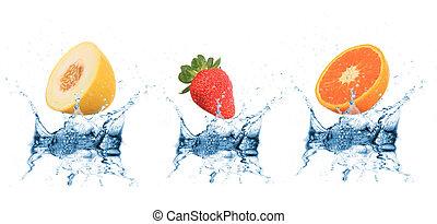 agua, caer, fruta