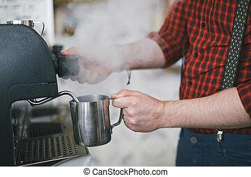 agua, café caliente