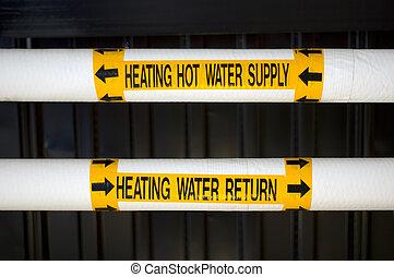 agua, caliente, suministro