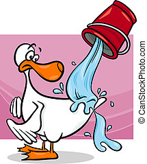 agua, caricatura, de, espalda, patos