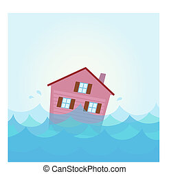 agua, casa, inundación, debajo